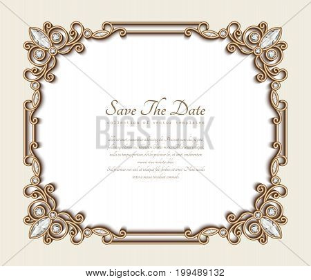 Vintage gold background, rectangle jewelry frame with ornamental border, save the date card or wedding invitation template