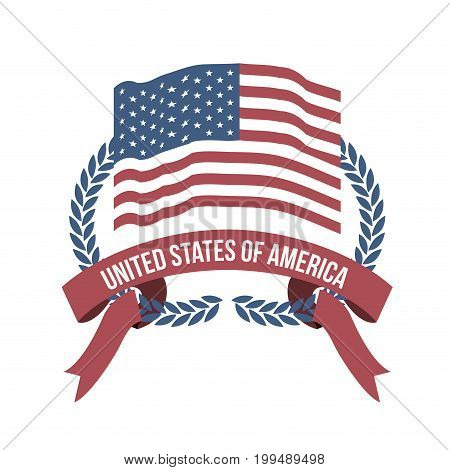 white background of light color flag united states of america with half crown of olive branches and label tape intertwined vector illustration
