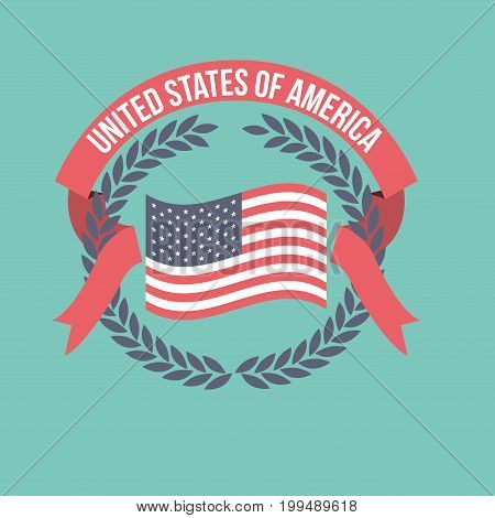 blue background of light color flag united states of america with crown of olive branches and label tape intertwined vector illustration
