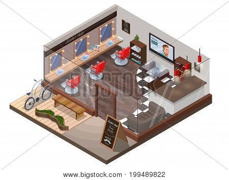 Isometric 3d barber shop interior, hipster hair salon design with modern wood furniture, barbershop chair, sofa, bicycle, hairdresser accessories, mustache icon, beauty studio layout, inside room view