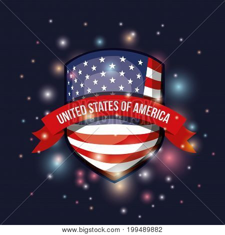 color dark blue background with brightness of shield shape flag united states of america with label tape vector illustration