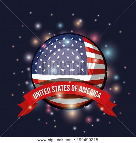 color dark blue background with brightness of circular shape flag united states of america with label tape vector illustration