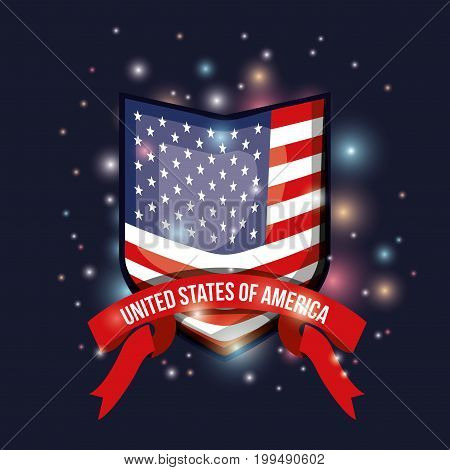 color dark blue background with brightness of emblem shape flag united states of america with label tape vector illustration