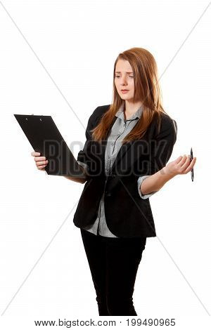 Shirty Business Woman Holds Clipboard