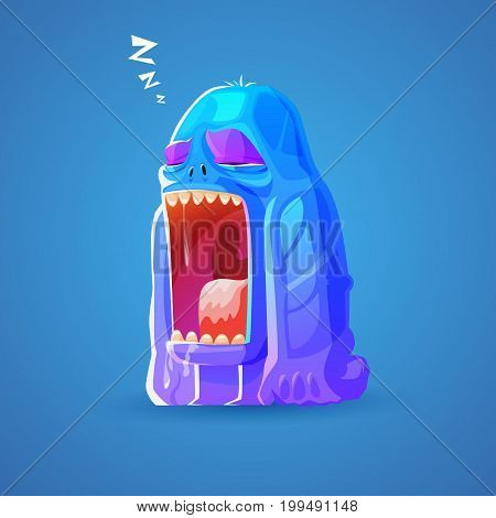 cartoon cute monsters dozing off isolated on vector background