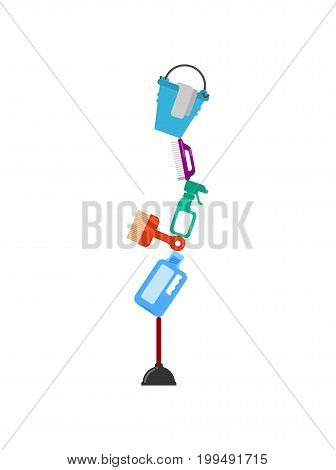 Cleaning Service Zen Balance. Rubber Plunger And Cleaning Agent. Bucket And Brush