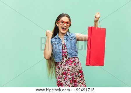 The beautiful long haired girl in casual clothing with shopping bags looking at camera celebrates the victory. Caucasian blondie model. Sales shop retail consumer concept. Isolated studio shot on light blue background