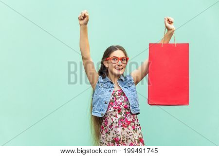 Very happyness beautiful long-haired girl in casual clothing with shopping bags looking at camera. Caucasian blondie model. Sales shop retail consumer concept. Isolated studio shot on white-blue background
