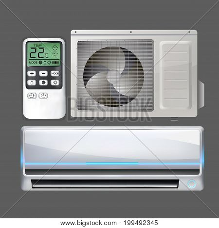 remote control directed on set air conditioner. Split conditioner system vector object on isolated background