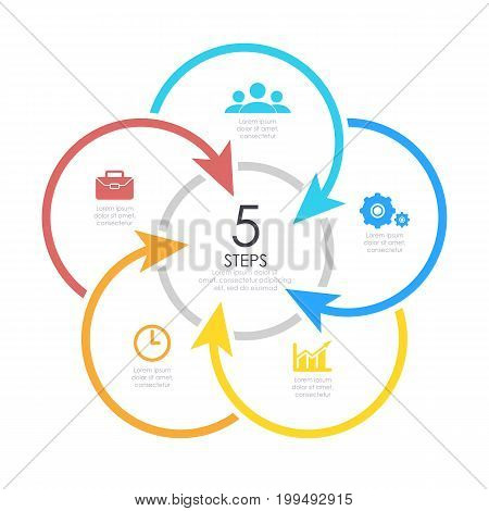 Outline round infographic element. Circle template 5 steps with arrows.