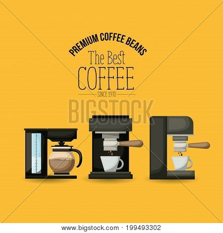 color poster of premium coffee beans of the best coffee since 1970 with set coffe maker and espresso machine vector illustration