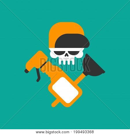 Plumber Service Emblem. Plumber And Logo Cleaning. Skull And Rubber Plunger And Wrench.