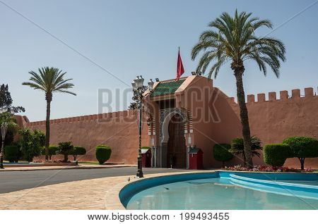 Marrakesh, Morocco - May 3, 2017: Entrance to the Royal Palace in Marrakesh Morocco