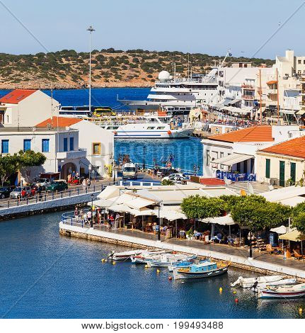 Aghios Nikolaos city at Crete island in Greece. View of the harbor
