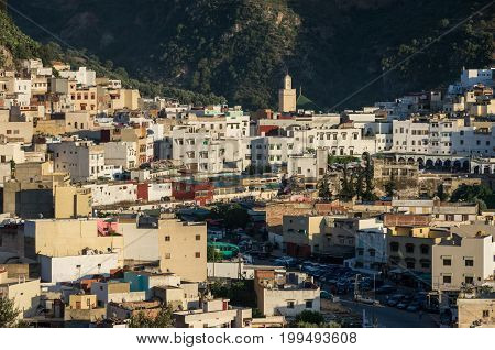 Moulay Idriss, Morocco - May 8, 2017: Holy city of Moulay Idriss Zerhoun including the tomb and Zawiya of Moulay Idriss Middle Atlas North Africa