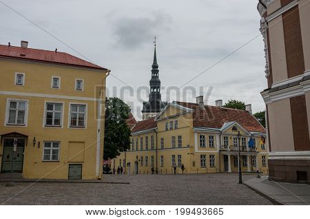Tallinn, Estonia - July 29, 2017: Lossi Plats Square near Alexander Nevsky Cathedral with Dome Church on background Tallinn Estonia