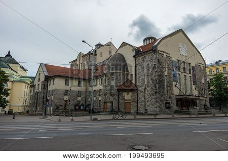 Tallinn, Estonia - July 29, 2017: Estonian Drama Theater. The Nordic Art Nouveau building is the oldest theatre in Estonia (1910) that has been preserved in its original form