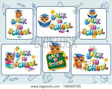 Set of stickers vector template for Back to school