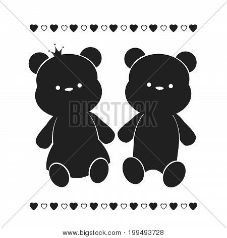 Vector silhouette of a pair of teddy bears.