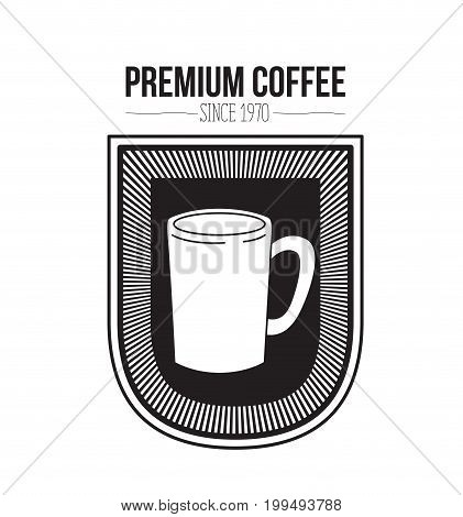 white background of text premium coffee beans since 1970 and logo design of decorative emblem with silhouette mug vector illustration