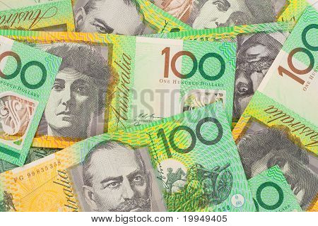 Australian Currency $100 Banknotes Background