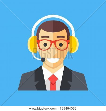 Call center worker. Customer service operator, manager, agent, technician. Smiling happy man with headset. Vector icon