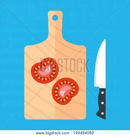 Cutting board, kitchen knife and tomato slices. Food preparation, cooking concepts. Flat design. Vector illustration