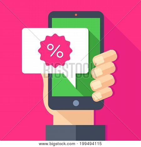 Hand holding smartphone with sale sticker, discount label message speech bubble. E-commerce, ecommerce, online shopping, advertising customer information. Modern trendy flat design vector illustration