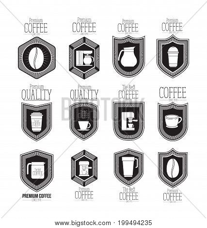 white background of set logo design of emblem decorative premium coffee beans of best coffee since 1970 vector illustration