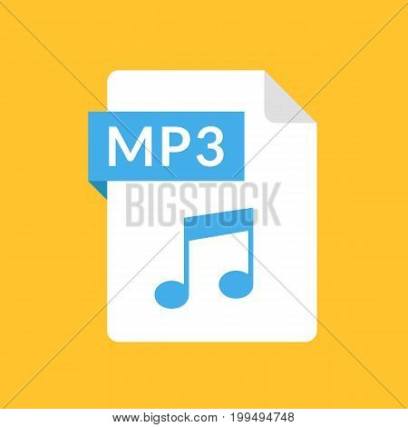 MP3 file icon. Audio document type. Flat design graphic illustration. Vector MP3 icon