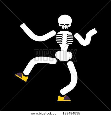 Dancing Skeleton Isolated. Skull Dances Street Dances