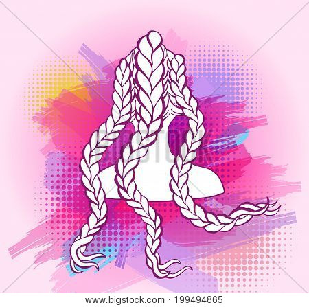 Colored african or boxer braids sketch style concept, trendy hairstyle design, template for hairdresser or hair studio, beauty salon banner, poster, flyer, colorful background