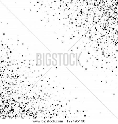Dense Black Dots. Abstract Chaotic Mess With Dense Black Dots On White Background. Vector Illustrati