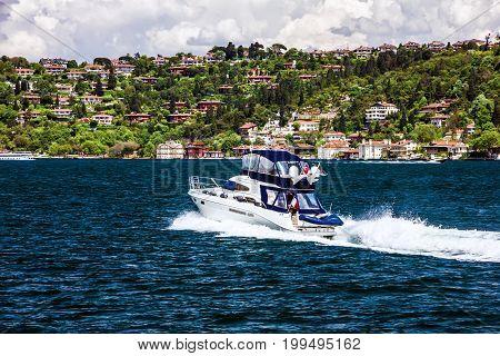 Tourist vessels in Bosporus sea scape, Istanbul, Turkey