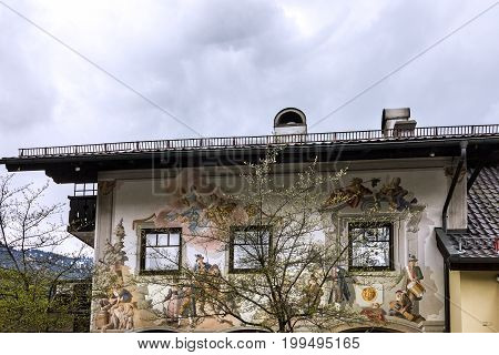 Oberammergau, Germany - Aug 4, 2017: Rural house in Germany, Bavaria, Oberammergau.