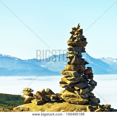 Troll - hillock of stones on the mountain Tromso Norway