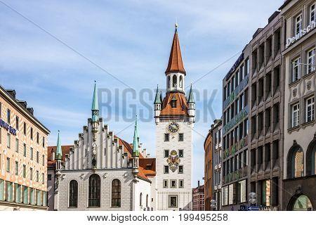 Munich, Germany - August 6, 2017: Town tower and church Marienplatz in Munich, Germany