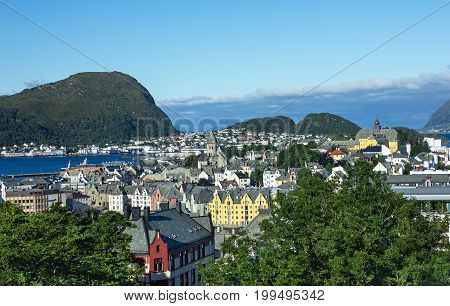 View on Norwegian town Alesund from Aksla mountain.