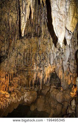 Stalactite underground landscape inside cave Demanovska, Slovakia