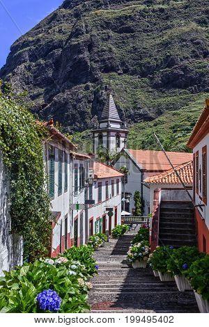 Madeira island, Portugal. Rural town ladder view