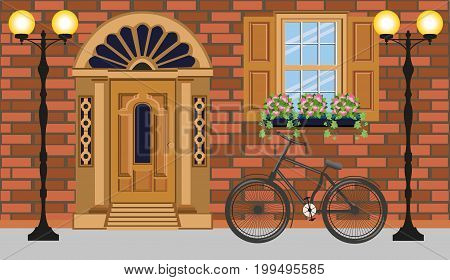 Stylish facade brick building with vintage entrance door, window with flowers, street lights and bicycle. Vector illustration.