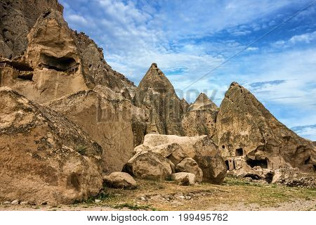Ancient cave monastery Cavusin in Cappadocia, Turkey