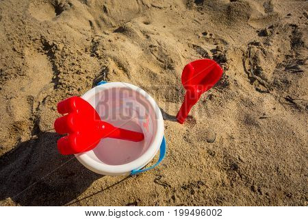 beach toys on the sand in Salou Beahc, Costa Daurada. Spain