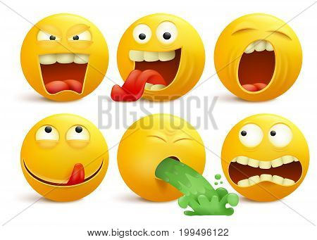 Set of yellow smiley face emoticon cartoon characters. Vector illustration