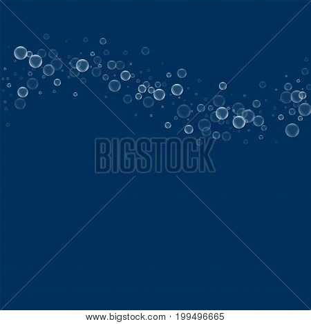 Soap Bubbles. Top Wave With Soap Bubbles On Deep Blue Background. Vector Illustration.