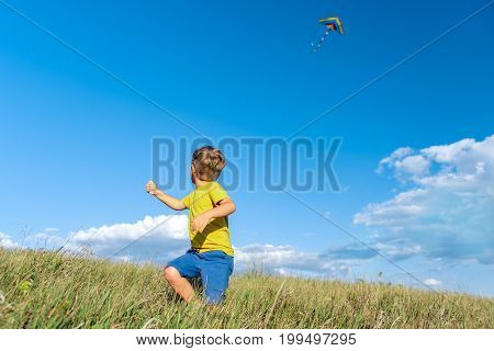 Low angle of excited boy launching colorful kite on meadow. He is looking up to the sky with interest. Copy space