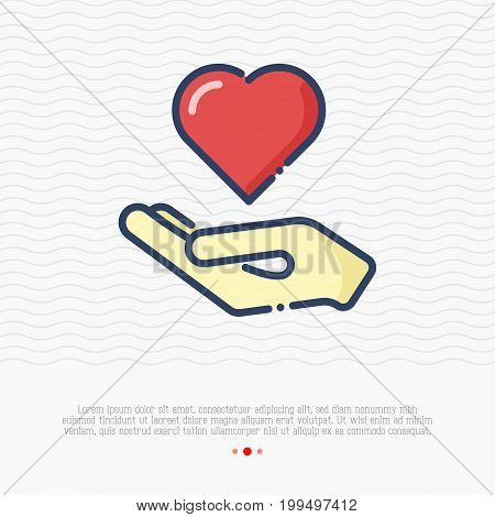 Hand holding heart thin line icon. Vector illustration for logo of charity, donation organization, symbol of help and love.