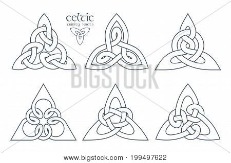 Vector celtic trinity knot part 1. Ethnic ornament. Geometric design. Vector illustration set