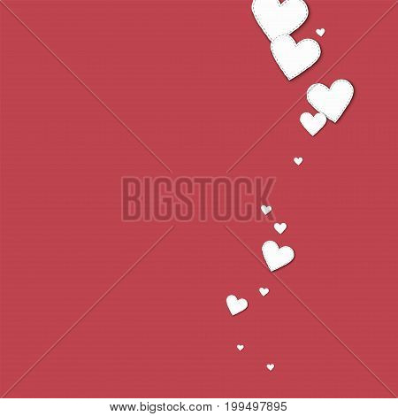 Cutout White Paper Hearts. Right Wave With Cutout White Paper Hearts On Crimson Background. Vector I