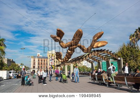 BARCELONA SPAIN - OCTOBER 22 2015: The statue of the shrimp by Javier Mariscal is one of the funniest emblems of Barcelona situated on the quay Moll de la Fusta Barcelona Spain